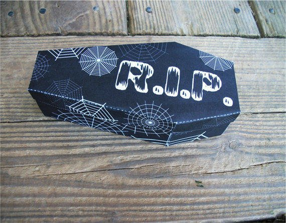 Large Halloween Coffin Favor Box Spiderwebs RIP Goth Decoration Black and White Printable Gift Box By OneStitch