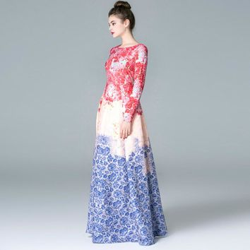HIGH QUALITY Newest 2018 Runway Maxi Dress Women's Long Sleeve Sweet Floral Printed Celebrity Party Ball Gown Long Dress
