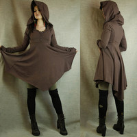 Empire waist hoodie dress in hand dyed organic cotton