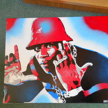painting of ll cool j,bad as hell,stencils & spraypaints on canvas,custom,hip hop,rapper,america,queens,wall art,cool,james,kangol,urban,red