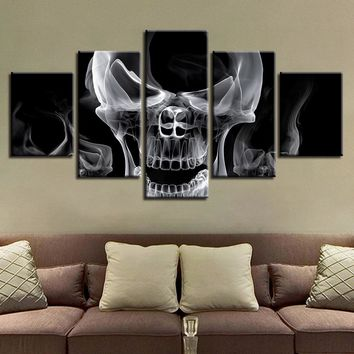 5 Pieces Abstract Skull Smoke Smoking Picture Black And White Modular Canvas
