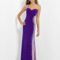 One Shoulder Beaded Accent Sheer Illusion Blush Prom Dress 9772