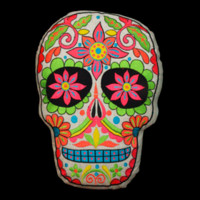 Sugar Skull Green Throw Pillow Blacklight Reactive