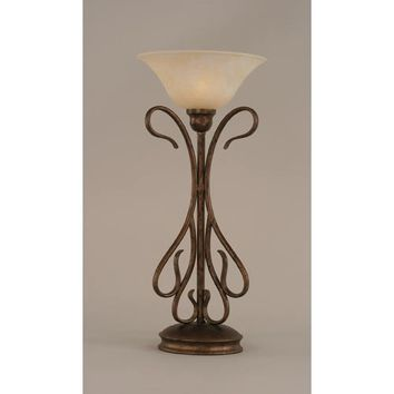 Toltec Lighting 38-BRZ-513 Swan Bronze Two-Light Table Lamp with Amber Marble Glass Shade