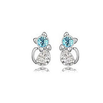 Basket Hill. Cat / Kitty Blue and Clear Crystals Girls Post Earrings