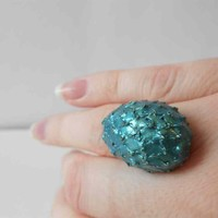 Fantasy Green Dragon Egg Ring