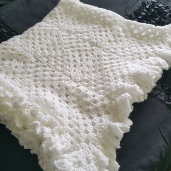 white crochet blanket baby ruffled edge perfect pram blanket cristening blanket cot bedding newborn gift handmade
