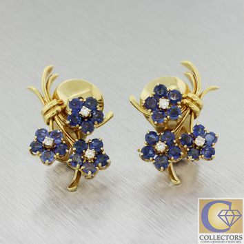 Van Cleef & Arpels 18k Yellow Gold Sapphire Diamond Flower Bouquet Earrings
