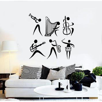 Vinyl Wall Decal Musical Instrument Music Band Jazz Stickers Mural (g1800)