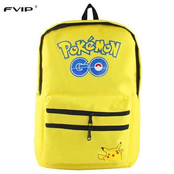 FVIP Pokemon Backpack Pikacun Students School Bags  for Boys and Grils Student Bag Cartera Mochila Escolar Children bags