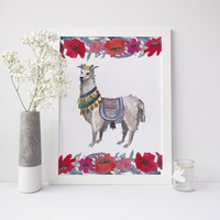 Fancy Watercolor Boho Llama Art Print