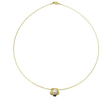 Pearl Daisy 14k Gold Slide Cable Necklace, Contemporary, Post 1990