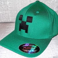 Minecraft CREEPER Embroidered Flexfit Baseball CAP/ HAT