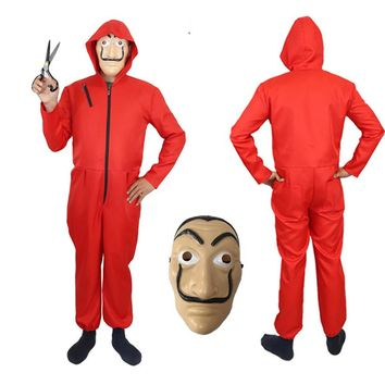 Adult Salvador Dali Cosplay Clown Costume Heist The House Of Paper La Casa De Papel Halloween Party Costumes With Face Mask