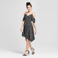 Women's Cold Shoulder Asymmetrical Hem Wrap Dress - Xhilaration™