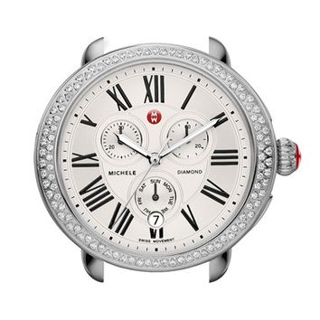 Women's MICHELE 'Serein' Diamond Watch Case, 40mm x 38mm - Silver