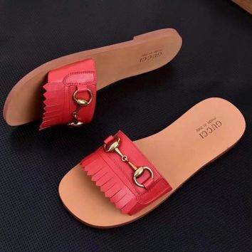 "Hot Sale ""GUCCI"" Summer New Popular Women Simple Tassel Leisure Sandal Slipper Shoes(7-Color) Red I-ALS-XZ"