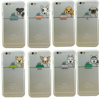 Cute couple dog transparent phone case for iPhone 7 7 plus iphone 5 5S SE 6 6s 6 plus 6s plus + Nice gift box 072301