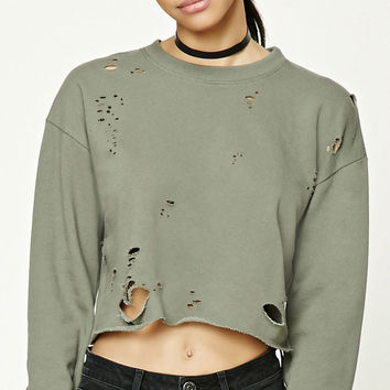 Distressed Cropped Sweatshirt