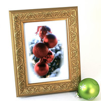 Original Photo Red Christmas Ornaments SnowyRound Metal Decorative Bulbs Ornate Gold Frame