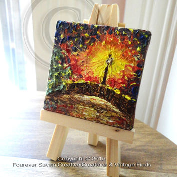 Mini Oil Painting Abstract Painting Original Oil Painting Small Painting Miniature Art Landscape Painting Fine Art Canvas Lamp Post Bridge
