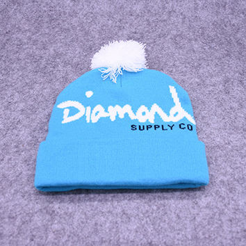 Diamond Supply Co Sky Blue & White Pom Beanie