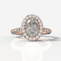 14k Rose Gold 8x6 Oval Forever Brilliant Moissanite Engagement Halo Ring, Wedding Ring, Wedding Band, Wedding Ring Set, R1014
