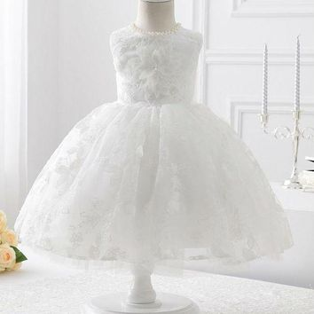 Evening White Lace With Big Flower Ball Gown Flower Girl Dresses New First Flower Girl Dress