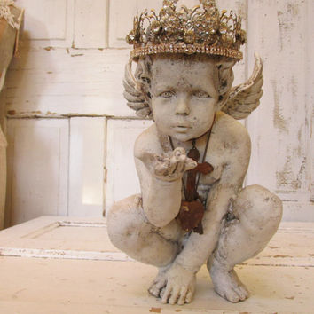 Distressed cherub statue hand painted handmade ornate crown Shabby chic angel figure inspired by French santos Anita Spero