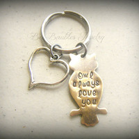 Hand Stamped Owl always love you keychain - Owl key chain - Owl collector - Owl lover