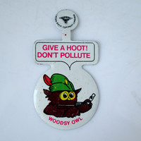 Vintage Woodsy Owl Don't Pollute Metal Lapel Badge Green Duck Company