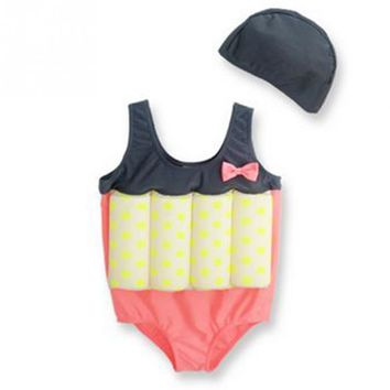 2018 summer One-piece Girls Boys Buoyancy Vest Float Suit Baby Toddler Child Swimming Aid With Cap Swimming Set for kids