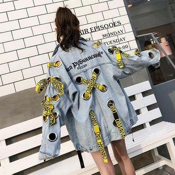 Trendy Inspring 2018, the new letters are embroidered with yellow ribbon and a loose denim jacket. AT_94_13