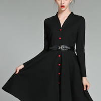 Black V Neck Long Sleeve A-Line Mini Skater Dress