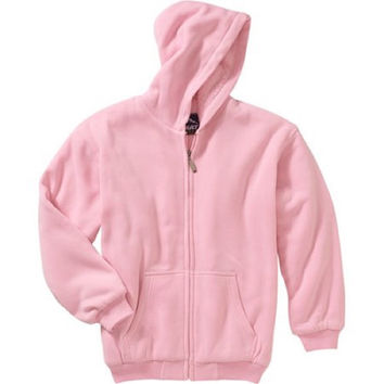 Climate Girls' Solid Sherpa Lined Fleece Jacket, Small (6-6X), Light Pink