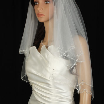 Bridal Veil Ivory 2 Tiers Elbow Length Edge In Beads, Rhinestone, Crystal Drop