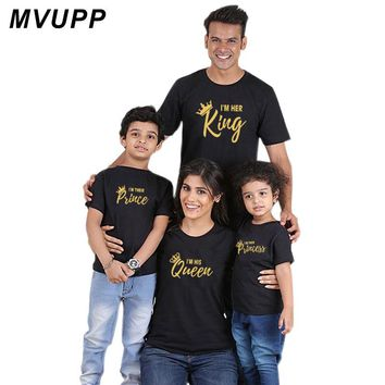family matching clothes outfits king queen prince princess tshirt for father mother daughter son look mommy and me clothing baby