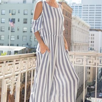 Cold Shoulder Striped Culotte Jumpsuit with Pockets
