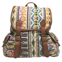 Multi-Colored Tribal Print Backpack | Wet Seal