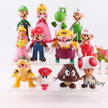 Super Mario party nes switch  Bros Wii Toys Luigi Goomba Wario  Bowser Princess Peach Toad Boo Yoshi Action Figure Toy for Children 6-14.5cm AT_80_8