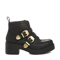 New Look Chunky Metal Density Ankle Boots
