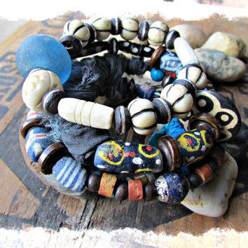 OCEAN WAVES~Artisan Four Coil Gypsy Bangle Bracelets~Caribbean Blue Turquoise Silk Sari~Ebony Beads~ Krobo Bead~~Ethnic, Earthy~Rustic~