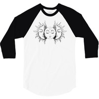 moon and sun 3/4 Sleeve Shirt