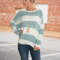 Fuzzy Fun Sweater, Sage-White
