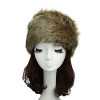 Faux Fur Flat Top  Russian Cossack Hat  in Coffee