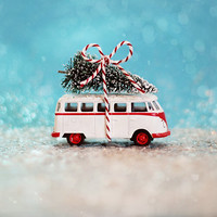 SALE Holiday Photography, VW Bus Christmas, vintage toy, christmas tree, teal, red, white, snow, glitter, bow