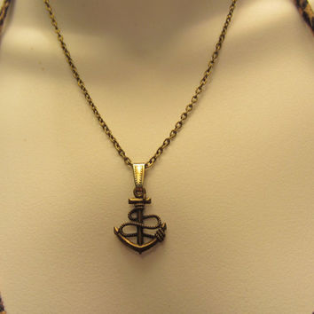 Bronze Anchor Necklace, Bronze Jewelry, Bronze Chain with Anchor Charm