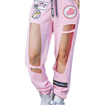 Pink Badge Patch Letter Pattern Cut-out Drawstring Waist Pants