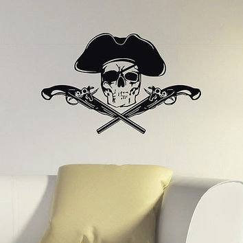 WALL DECAL VINYL STICKER PIRATE SKULL GUN PISTOLE DECOR SB525