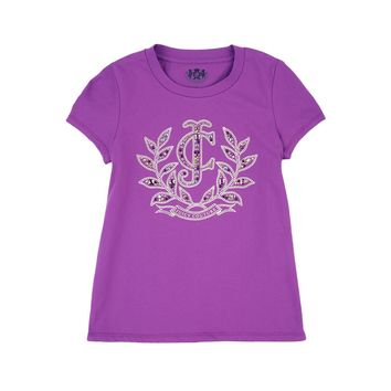 Sparkling Grape Girls Logo Jc Laurel Gem Short Sleeve Tee by Juicy Couture,